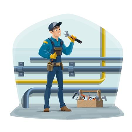 Fontanero y tuberías de agua, trabajador de servicio de reparación de fontanería con herramientas de trabajo. Inspector de tuberías de suministro de gas, agua y plomero de vector con llave y caja de herramientas, mantenimiento de tuberías de alcantarillado