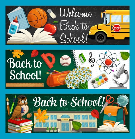 Back to school inscriptions on blackboard and stationery items. Vector bus and open book, glue and basketball ball. Pencil case, flower bouquet, building and backpack, magnifier and scissors, owl bird Vecteurs