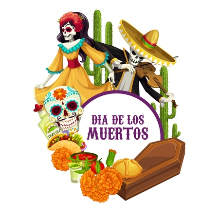 Dia de los Muertos skeletons in Mexican costumes celebration fiesta. Vector Mexico religious holiday Day of Dead or Dia de los Muertos calavera skull with sombrero, cactus and tacos food and coffin