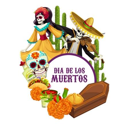 Dia de los Muertos skeletons in Mexican costumes celebration fiesta. Vector Mexico religious holiday Day of Dead or Dia de los Muertos calavera skull with sombrero, cactus and tacos food and coffin