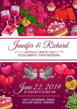 Wedding invitation vector design of marriage ceremony gifts, love hearts and chocolate cake. Flower bouquet, bride and groom rings, love letter envelope, present boxes, wine glasses and birds Illustration