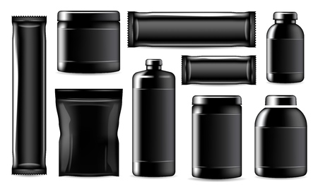 Sport nutrition containers and package mockup, realistic black templates. Vector isolated fitness and sport nutrition package, protein jar and training energy bar, BCAA powder and gainer drink bottle Illustration