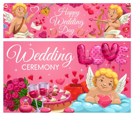 Happy wedding day, Save the Date ceremony cards. Vector cupid with arrow and bow, resting on cloud with heart, love and passion. Engagement ring, flower bouquets and cake, envelope and wine glasses Illustration