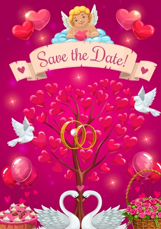 Save the date invitation, vector tree with hearts symbols of love. Vector cupid resting on cloud, couple of doves and engagement rings. Happy marriage card, swans and basket of rose flowers, balloons Illustration