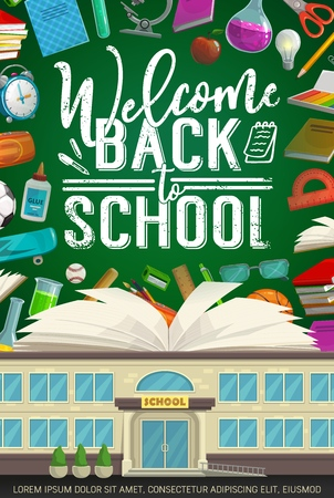 Bienvenido de nuevo al diseño vectorial de la escuela con libros y útiles escolares en la pizarra del aula. Escuela, cuaderno y despertador, lápiz, tijeras y microscopio, bola, regla y pegamento, bolas y bolígrafo