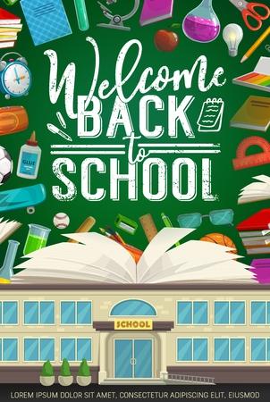 Welkom terug bij school vectorontwerp met boek en studentenbenodigdheden op klasbord. School, notitieboekje en wekker, potlood, schaar en microscoop, bal, liniaal en lijm, ballen en pen