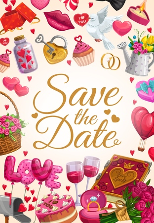 Wedding, love hearts and Save the Date invitation calligraphy with pink roses flowers. Vector wedding cakes, golden ring with diamond, dove with love message and hearts balloons, cupcakes and gifts