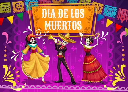 Dia de los Muertos skeletons and Catrina dancing on mexican holiday fiesta party in sombrero, suit and dress. Day of the Dead festival and Latin American religion carnival mariachi musicians. Vector Illustration