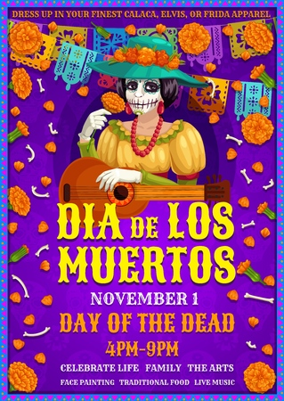 Day of the Dead, Dia de Los Muertos party invitation. Vector woman in Frida apparel with marigold flower and guitar. Female skeleton in hat and red necklace, bones and flowers, Mexican holiday