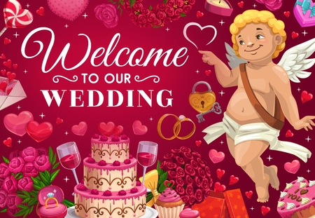 Welcome to our wedding invitation. Vector cupid and holiday cake, flower bouquets and engagement ring with diamond. Letter with greetings, hearts symbols of love, lollipop and angel, presents gifts  イラスト・ベクター素材