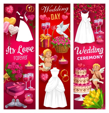 Wedding ceremony rings of bride and groom vector design. Wedding gifts, bridal dress and hearts, balloons, chocolate cake and flower bouquets, Cupids, present box and wine glasses, candies, dove birds