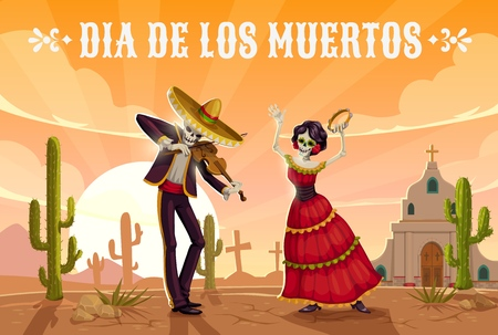 Day of the Dead mexican holiday dancing skeletons in sombrero. Dia de los Muertos religion festival skull and Catrina playing violin and tambourin on cemetery with church and cactuses. Vector design