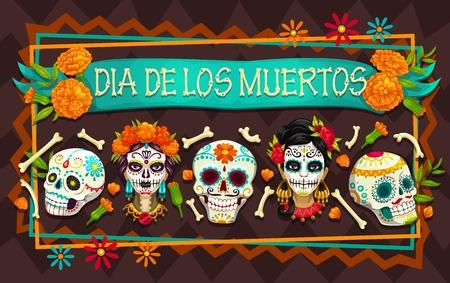 Día de los Muertos, fiesta mexicana, calaveras de azúcar y fiesta del Día de los Muertos, cabezas de Catrina. Esqueletos de fiesta de Halloween de México en marco de huesos y flores de caléndula. Diseño de vector de tarjeta de felicitación