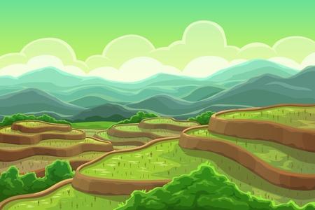 Chinese rijstvelden in berglandschap, plantage op cascadeveld, terrasvormige landbouw. Vector groene bomen en berglandschap, Aziatische weide met planten. Theeplantage in China, Vietnam, India