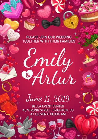 Bride and groom names calligraphy, invitation on wedding ceremony, frame of love symbols. Vector Save the date party, engagement ring and wine gasses. Couple of doves, hearts, padlock, burning candle Vetores