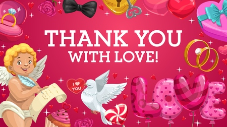Wedding rings, gifts and love hearts, Valentines Day or Wedding Ceremony card vector design. Balloons, chocolate cake and rose flowers, candy, Cupid and dove bird, present box, ribbon and bows frame