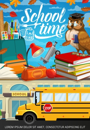 Back to School education season poster with owl in graduate cap. Vector school bag with student classes supplies and study items, notebook, pencil and pen, bus and apple, microscope and watercolors Ilustração
