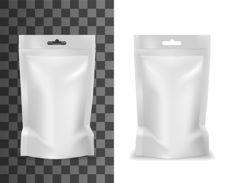 Plastic sachet, pouch bag realistic white blank mockup template. Vector isolate doypack sachet or pouch bag with hang slot hole, candy or food product package mock up