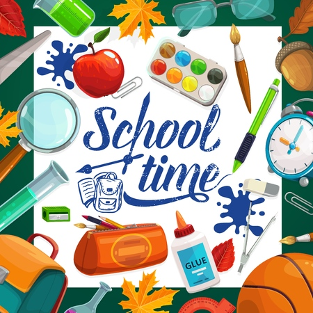 School time ink inscription and stationery items. Vector pencil case and glue, 1 st September leaves and kids backpack. Apple snack and pen, clock and sharpener, basketball ball, glasses and magnifier