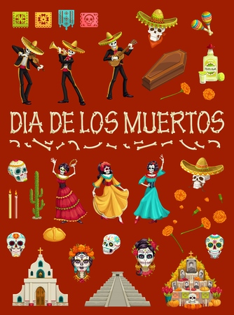 Day of the Dead festival dancing skeletons and skulls. Dia de los Muertos Mexican holiday religious symbols, bones, sombrero hat and cemetery, grave, marigold flower and candle, coffin and flags