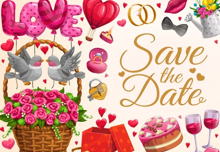 Wedding invitation calligraphy, hearts balloons and kissing birds in flowers wicker. Vector Save the Date party wedding rings, gift ribbons, cake and wine glasses, tuxedo bow tie and kiss lips Illustration