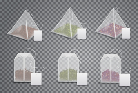 Tea bags 3d realistic mockup templates set. Vector isolated triangle pyramids and square teabags with blank label tag on thread, English breakfast, Indian Ceylon and Chinese green tea product package Illustration