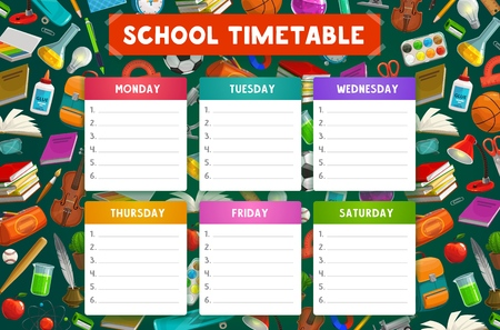 School timetable vector template with weekly schedule of student lessons with education supplies. Study plan or daily planner chart on background with books, notebook and backpack, paint, brush, pen Illustration