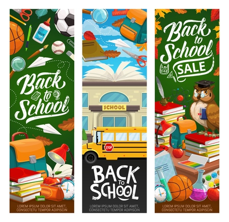 Back to school invitation and sale, grunge inscriptions. Vector educational establishment building, stationery items, means of education. Wise owl and books, chemistry tubes and yellow bus, backpack