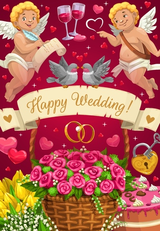 Happy wedding greetings, invitation on marriage party. Vector cupids and pair of wine glasses, couple of engagement rings, padlock with key. Basket of flowers, tulips bouquet and cake, doves in love