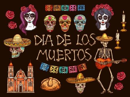 Mexican Dia de Muertos holiday sketches. Day of the Dead skulls, skeleton and Catrina Calavera, sombrero, guitar and rose flowers, candles, sweet bun and church vector symbols, Mexico Halloween design Ilustração