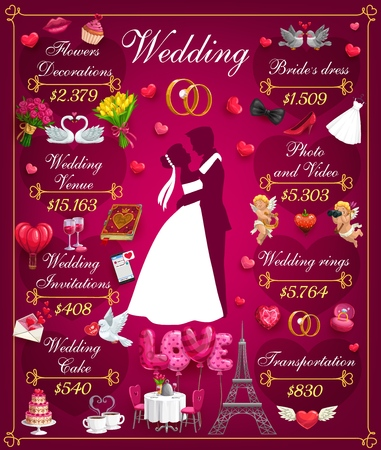 Wedding costs, arrangement of party and price on services. Vector flowers decoration, venue and invitations, cake and bridal dress. Photo and video, engagement rings and money on transportation