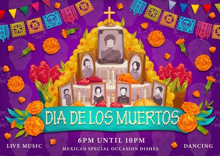 Dia de los Muertos or Day of Dead Mexican traditional holiday. Vector Dia de los Muertos altar family photo frames in marigold flowers, cross and ritual pie with calavera skulls and pecked paper flags