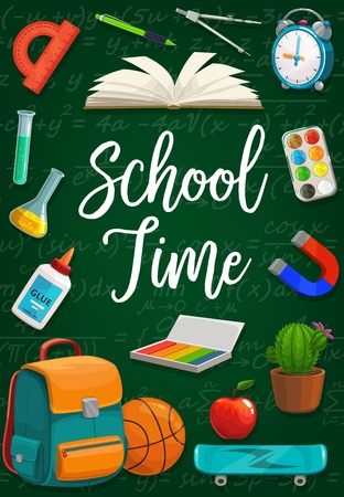 School time inscription on chalkboard with equations, stationery frame. Vector open textbook, compass divider and protractor, clock and paintings. Magnifier and cactus, apple and skateboard, backpack