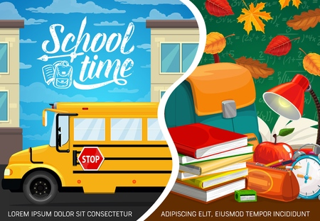 School time education poster with student notebooks and supplies. Vector back to school autumn season, classes formula on green chalkboard, bus and student bag, apple and lamp on classroom desk