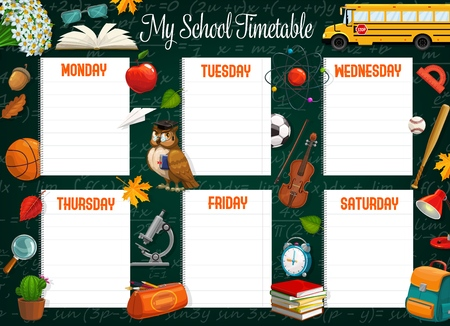 School timetable or schedule of student lessons vector template on blackboard. Weekly plan on empty notebook paper sheets with books, school bus and backpack, microscope, balls and chalkboard Çizim