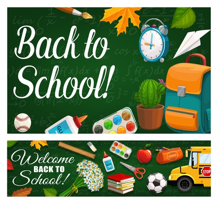 Back to School green chalkboard and study classes supplies. Vector school bus, pens and pencils, books and watercolor paint brush, football and baseball ball, scissors, apple and flowers Illustration