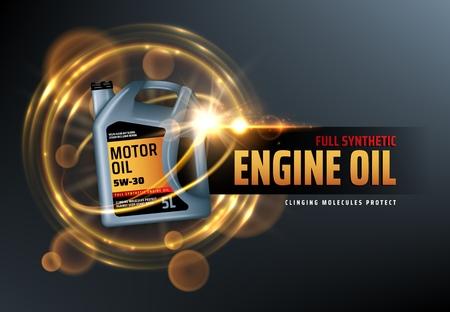 Kanister Motoröl, vollsynthetischer Schutz gegen anhaftende Moleküle. Vektorfahrzeugmotor-Schmierölwechsel mit verschwommenen goldenen Blasen. Werbung und Werbung für Autoöle