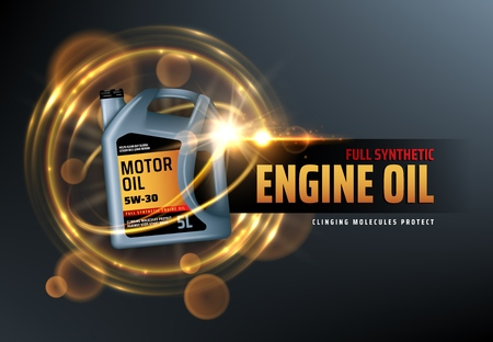 Canister of engine motor oil, full synthetic clinging molecules protection. Vector vehicle engine lubricant oil change with blurred golden bubbles. Promotion and advertisement of car oils