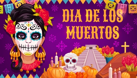 Mexican traditional religious holiday or Day of Dead. Vector woman in calavera skull painting, Aztec pyramid or altar and coffin with Dia de los Muertos marigold flowers, flags and candles Illustration