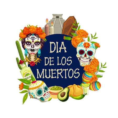 Dia de los Muertos calavera skull painting on woman head, Mexican Day of Dead holiday. Vector traditional Dia de los Muertos fiesta maracas, tequila with lime and cactus in marigold flowers
