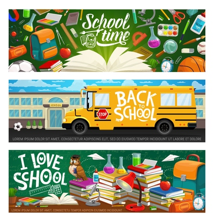 I love study, back to school grunge inscriptions, bus, stationery items and building. Vector educational supplies and lesson learning objects. Stacks of books, backpack and lamp, microscope and flask