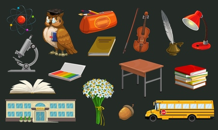 Back to school isolated symbols. Vector wise owl in hat with book, microscope and pencil case, bus and daisy flowers bouquet. Open textbook and school building, lamp and ink pen, acorn and violin Ilustração