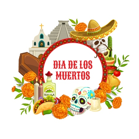 Dia de los Muertos, Mexican Day Dead holiday poster. Vector traditional Dia de los Muertos celebration calavera skull in Mexican sombrero, coffin and candles in marigold flowers and fiesta food