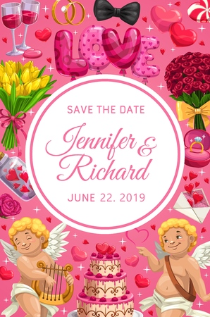 Wedding Save the Date card vector design. Love hearts, bride and groom rings, red balloons, flower bouquets and chocolate cake, Cupids, roses and tulips, love letter envelope, wine glasses and bow