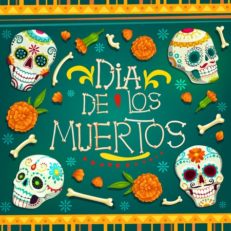 Dia de los Muertos Mexican holiday greetings in bones text and calavera skulls with floral pattern. Vector Mexico traditional Day of Dead or Dia de los Muertos celebration marigold flowers