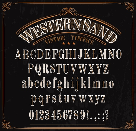 Western font letters. Vector vintage typeface in retro vignette frame. English ABC, uppercase and lowercase alphabet, numbers and punctuation marks, signs, special symbols. Wild west letters design Ilustracja
