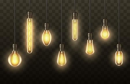 Bombillas realistas, lámparas colgadas de cables. Vector bombillas de luz retro vintage con luz brillante, conjunto realista de lámpara LED moderna, filamento amarillo fluorescente, diseño de iluminación para el hogar Ilustración de vector