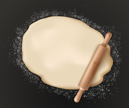 Rolled pastry dough and rolling pin on black. Vector pizza dough sprinkled with flour, bakery food preparation and kitchen utensil. Homemade domestic bread pastry cooking, raw cake and pin with handle
