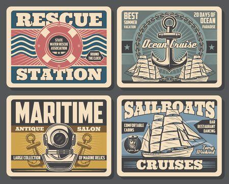 Carteles náuticos vintage, aventura marina y estación de rescate de nadador acuático. Salón de antigüedades de reliquias marinas de vector, cruceros en velero oceánico y vacaciones de verano, aqualung con ancla de barco y aro salvavidas