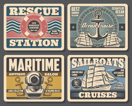 Nautical vintage posters, marine adventure and water swimmer rescue station. Vector marine relics antique salon, sailboat ocean cruises and summer vacations, aqualung with ship anchor and lifebuoy Imagens - 124634504